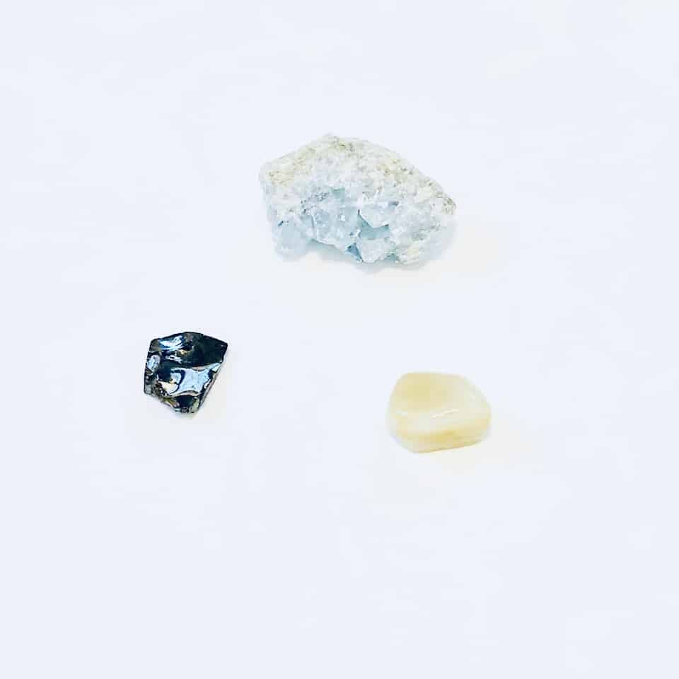 moonstone, celestine, shungite